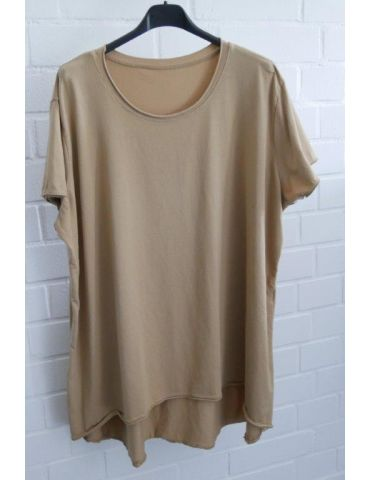 Damen Shirt A-Form kurzarm camel caramell Baumwolle Onesize 38 - 46