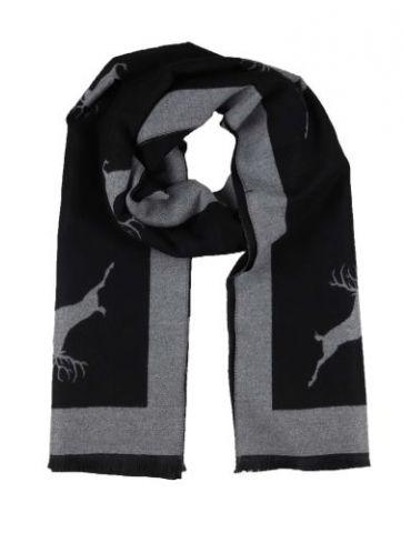 XXL Damen Winterschal Schal schwarz grau Hirsche mit Viskose Wolle Fransen