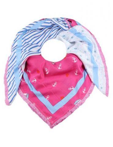 Zwillingsherz Organic Dreieckstuch Tuch Schal rose pink blau weiß Herzen Anker Blumen Streifen Viskose Bambus
