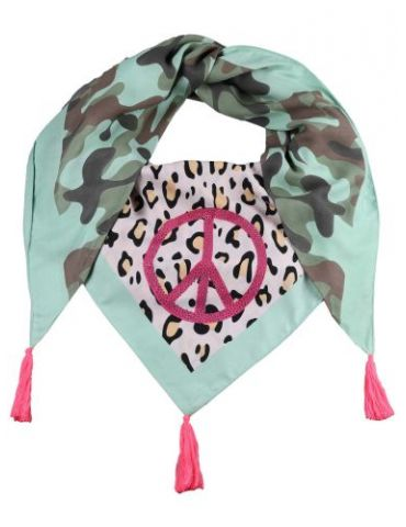 Zwillingsherz Dreieckstuch Tuch Schal grün pink rose bunt Leo Camouflage Peace Strass Bambus Viskose