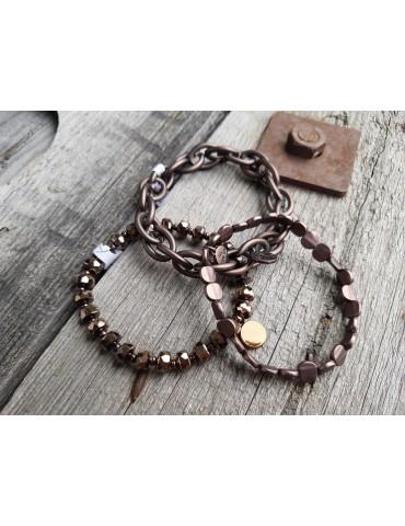 Trendiges Gliederarmband Elastisch braun brown...