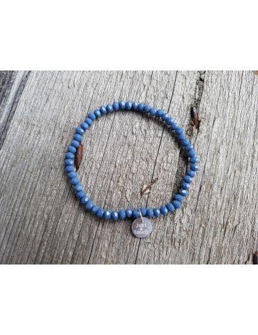 Bijoux Armband Kristallarmband Perlen rauchblau klein Glitzer Schimmer elastisch
