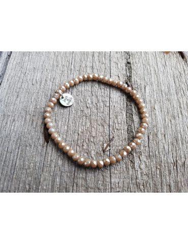 Bijoux Armband Kristallarmband Perlen helltaupe klein Glitzer Schimmer elastisch