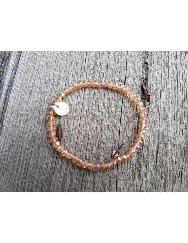 Bijoux Armband Kristallarmband Perlen beige klar klein Glitzer Schimmer elastisch