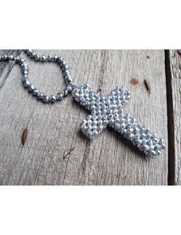 Modeschmuck Kette Halskette lang silber silver Kristallperlen Kreuz Kunststoff Metall
