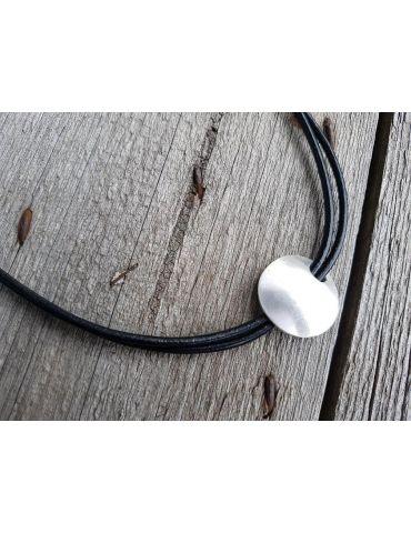 Bijoux Modeschmuck Kette Halskette Damen kurz schwarz silber Anhänger Metall Leder