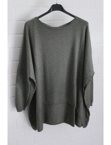ESViViD Damen Pullover khaki oliv grün Rundhals Onesize ca. 38 - 46 mit Viskose 2232
