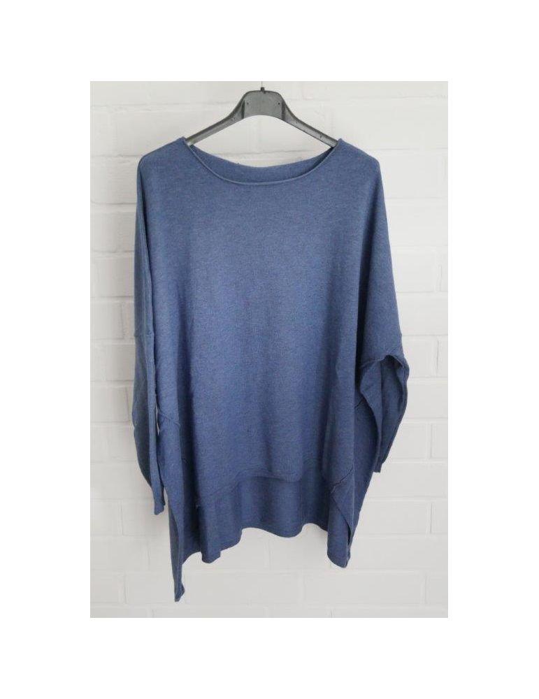 ESViViD Damen Pullover jeansblau blau Rundhals Onesize ca. 38 - 46 mit Viskose 2232