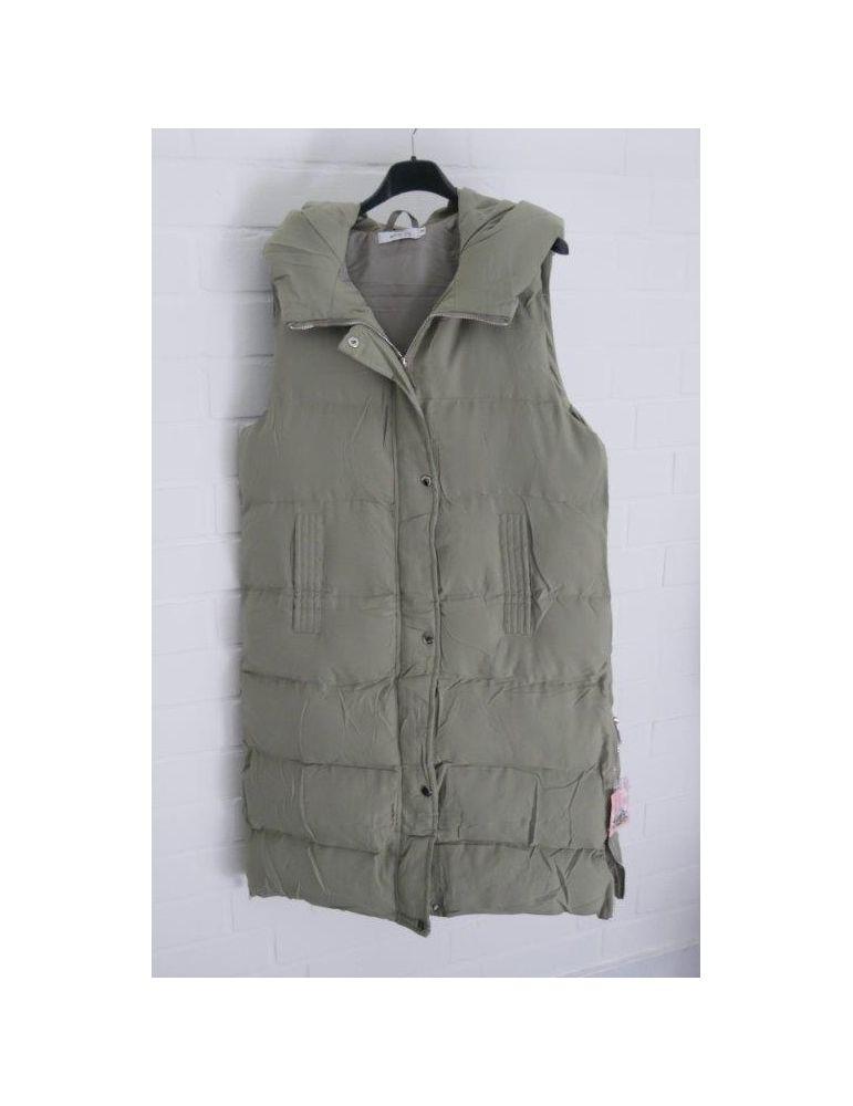 Trendiger Damen Stepp Mantel Jacke ärmellos lindgrün hell oliv Kapuze