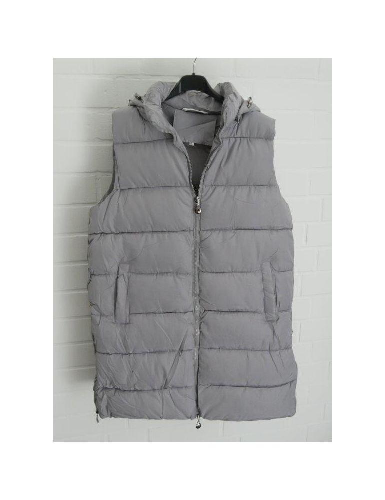 Trendiger Damen Stepp Mantel Jacke ärmellos grau abnehmbare Kapuze