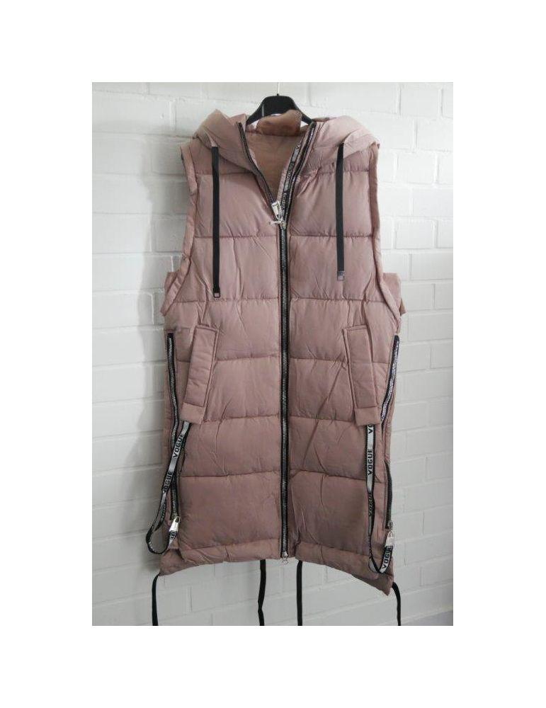 Trendiger Damen Stepp Mantel Jacke ärmellos rose rosa Bänder Kapuze