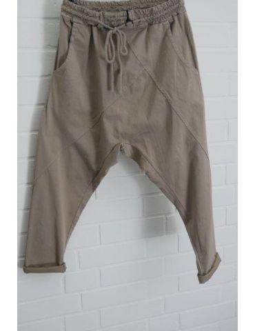 Bequeme Sportliche Damen Hose Baggy dunkelbeige mit Lyocell Onesize 38 40