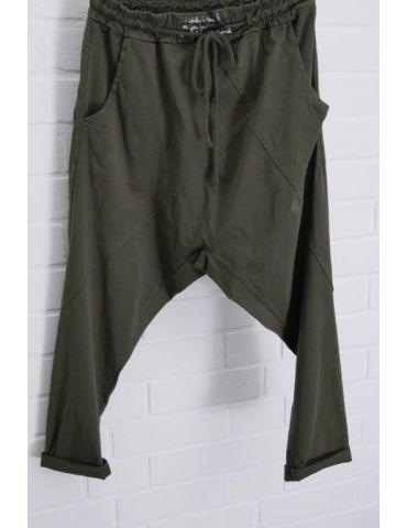 Bequeme Sportliche Damen Hose Baggy dunkel khaki mit Lyocell Onesize 38 40