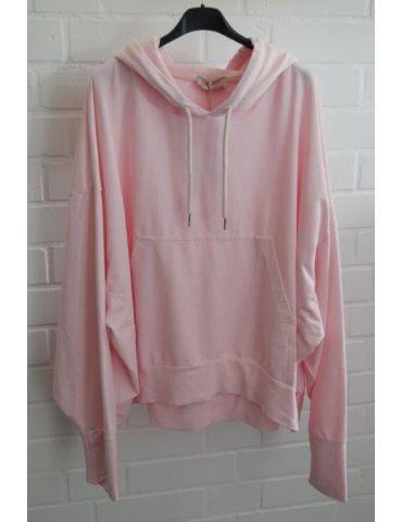 ESViViD XXL Big Size Hoodie Sweat Shirt langarm rose rosa uni mit Baumwolle