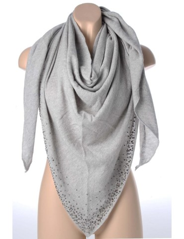 Zwillingsherz Dreieckstuch Schal mit Kaschmir hellgrau grau Strass Steine