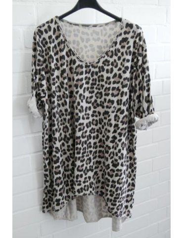 Damen langarm Shirt A-Form beige schwarz taupe Leo Baumwolle Onesize ca. 38 - 44