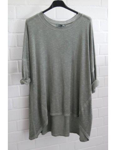 ESViViD Damen Shirt 3/4 Ärmel khaki oliv grün mit Baumwolle Onesize ca. 38 - 44 3611