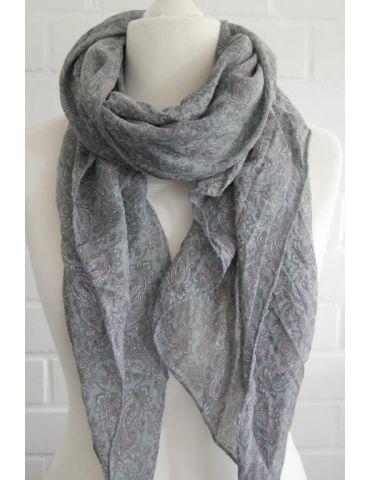 Schal Tuch Loop Made in Italy Seide Baumwolle grau rose weiß Paisly