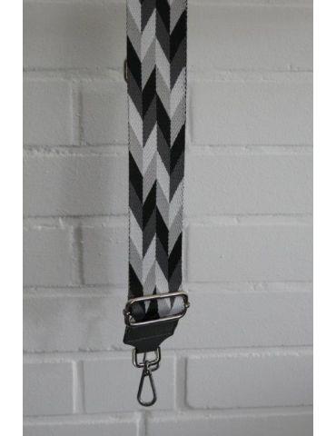Taschen Gurt Handtasche Gürteltasche grau schwarz weiß hellgrau Rauten silberner Karabiner