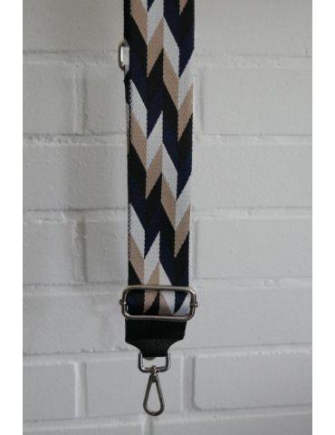 Taschen Gurt Handtasche Gürteltasche schwarz dunkelblau beige weiß Rauten silberner Karabiner