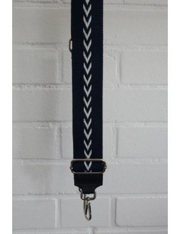 Taschen Gurt Handtasche Gürteltasche dunkelblau weiß Pfeile silberner Karabiner