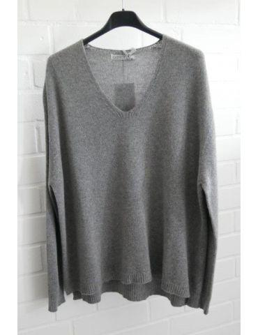 Damen Strick Pullover V-Ausschnitt grau grey mit Kaschmir Onesize ca. 38 - 44