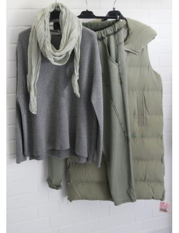 Damen Strick Pullover V-Ausschnitt grau grey...