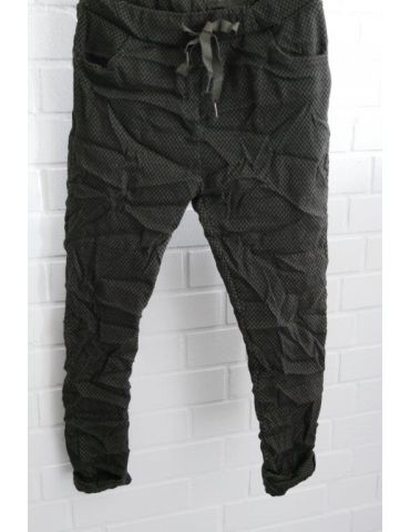 Bequeme Sportliche Damen Hose schwarz khaki grün Rauten mit Viskose 38/ 40