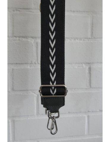 Taschen Gurt Handtasche Gürteltasche anthrazit grau weiß Pfeile silberner Karabiner