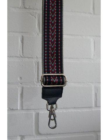 Taschen Gurt Handtasche Gürteltasche dunkelblau hellgrau rot Muster silberner Karabiner
