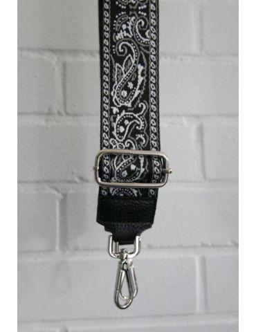 Taschen Gurt Handtasche Gürteltasche schwarz weiß hellgrau Paisly silberner Karabiner