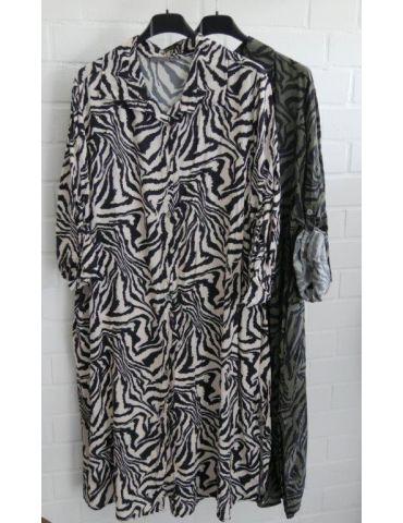 Damen Tunika Blusen Kleid A-Form schwarz creme...