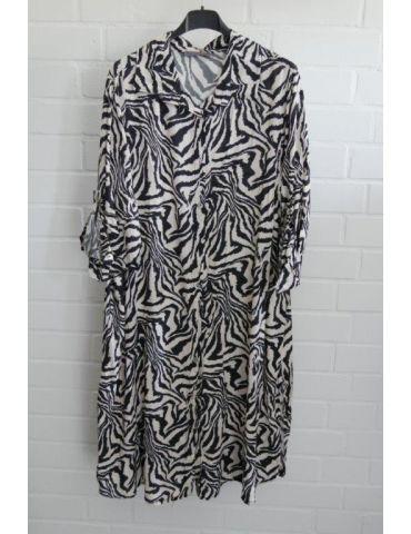 Damen Tunika Blusen Kleid A-Form schwarz creme Zebra Onesize 38 - 44