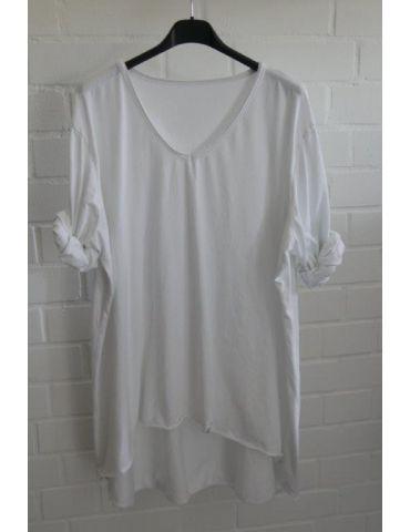 Damen langarm Shirt A-Form weiß white uni Baumwolle Onesize ca. 38 - 44
