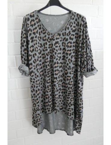 Damen langarm Shirt A-Form grau schwarz taupe Leo Baumwolle Onesize ca. 38 - 44