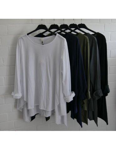 Wendy Trendy Damen Shirt langarm weiß white uni...