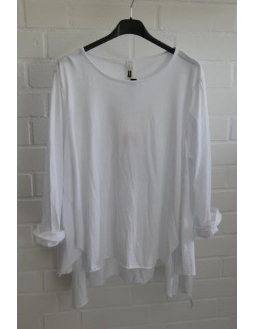 Wendy Trendy Damen Shirt langarm weiß white uni Baumwolle Ziernähte Onesize 38 - 42