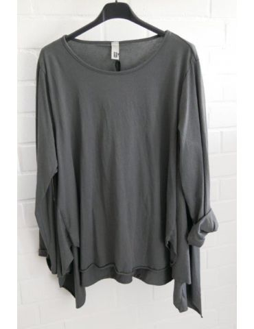 Wendy Trendy Damen Shirt langarm anthrazit grau uni Baumwolle Ziernähte Onesize 38 - 42