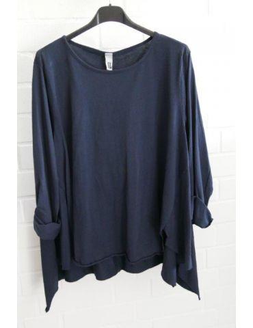 Wendy Trendy Damen Shirt langarm dunkelblau marine uni Baumwolle Ziernähte Onesize 38 - 42