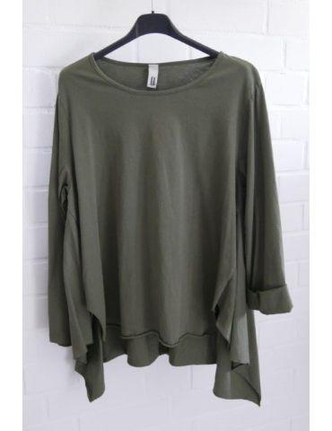 Wendy Trendy Damen Shirt langarm khaki oliv grün uni Baumwolle Ziernähte Onesize 38 - 42