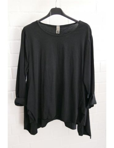 Wendy Trendy Damen Shirt langarm schwarz black uni Baumwolle Ziernähte Onesize 38 - 42