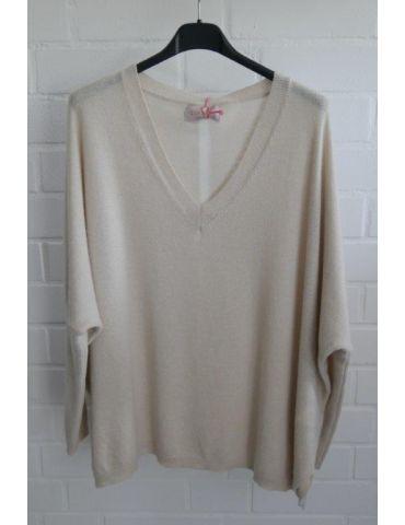ESViViD Damen Strick Pullover V-Ausschnitt beige creme Streifen mit Kaschmir Onesize 38 - 48