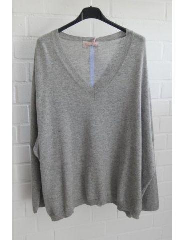 ESViViD Damen Strick Pullover V-Ausschnitt hellgrau hellblau Streifen mit Wolle Onesize 38 - 48