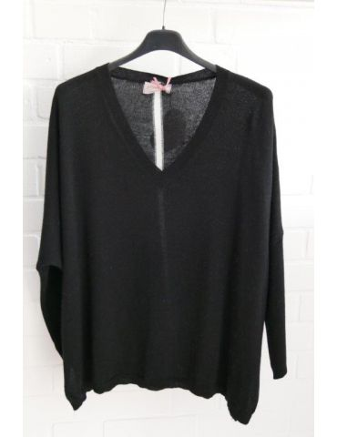 ESViViD Damen Strick Pullover V-Ausschnitt schwarz creme Streifen mit Wolle Onesize 38 - 48