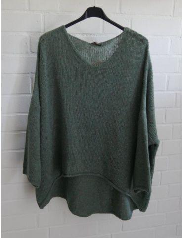 Damen Strick Pullover V- Ausschnitt grün green Onesize 38 - 46