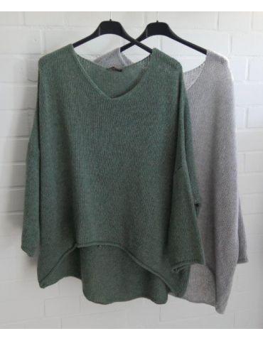 Damen Strick Pullover V- Ausschnitt grün green...