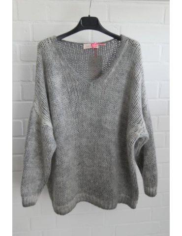 Damen Grob Strick Pullover V-Ausschnitt hellgrau grau verwaschen Onesize ca. 38 - 44
