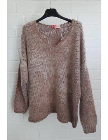 Damen Grob Strick Pullover V-Ausschnitt rost rot verwaschen Onesize ca. 38 - 44