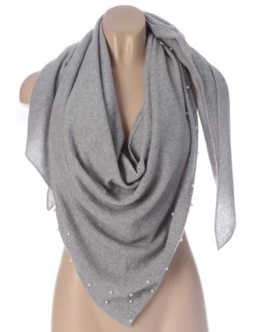 Zwillingsherz Dreieckstuch Schal mit Kaschmir hellgrau grau uni mit Perlen