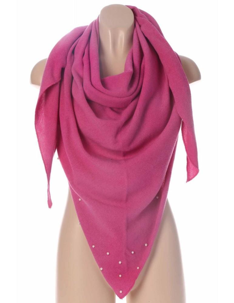Zwillingsherz Dreieckstuch Schal mit Kaschmir pink rosa rose uni mit Perlen